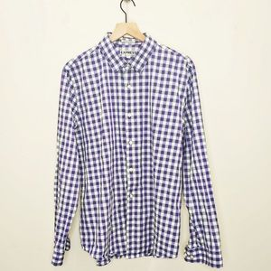 Express Men's Purple Plaid Cotton Dress Shirt EUC